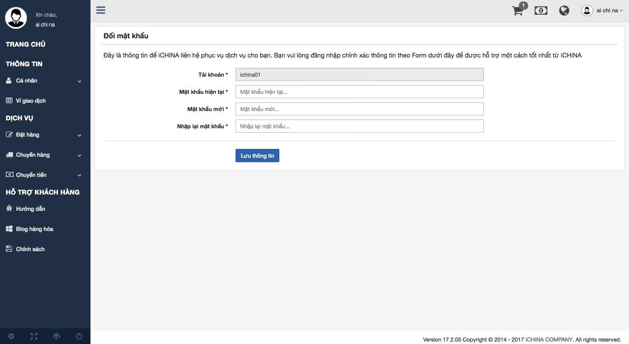 Hương dẫn đổi mật khẩu tài khoản ICHINA COMPANY